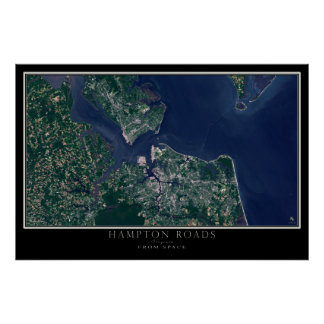 Hampton Roads Virginia From Space Satellite Map Poster
