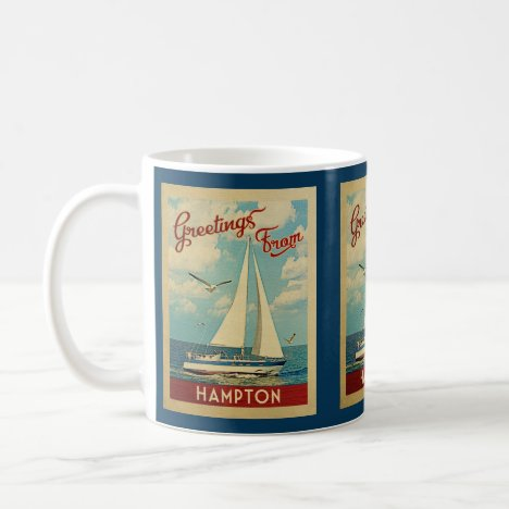Hampton Sailboat Vintage Travel Virginia Coffee Mug