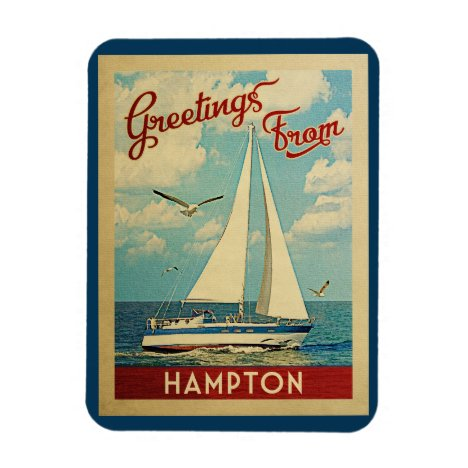 Hampton Sailboat Vintage Travel Virginia Magnet