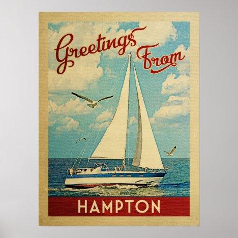 Hampton Sailboat Vintage Travel Virginia Poster