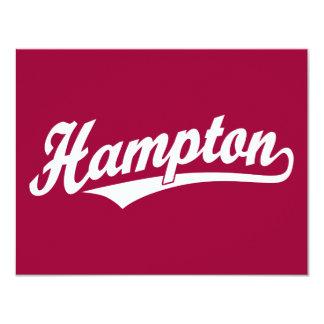 Hampton script logo in white card