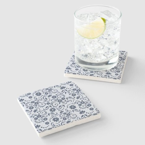 Hampton style navy and white floral stone coaster