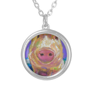 Hampton the Pig Silver Plated Necklace