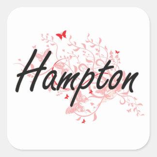 Hampton Virginia City Artistic design with butterf Square Sticker