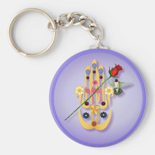 Hamsa and Flowers  Keychains