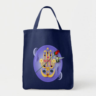 Hamsa and Flowers Oval  Bags