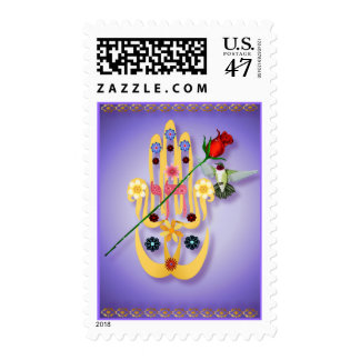 Hamsa and Flowers  Postage