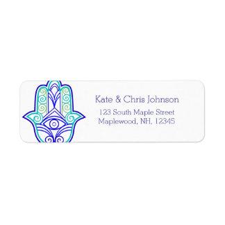Hamsa design rerun address label-blues label