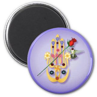Hamsa e imanes de las flores imán redondo 5 cm