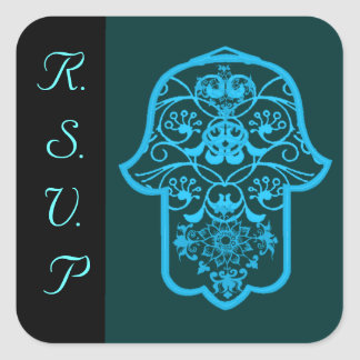 Hamsa floral (azul) (boda) calcomania cuadradas personalizadas