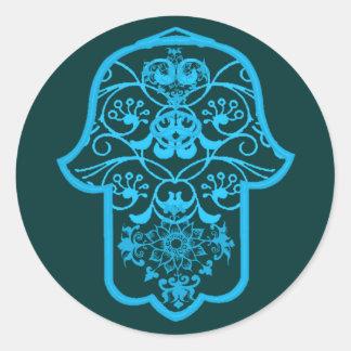 Hamsa floral (azul) pegatina redonda