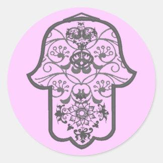 Hamsa floral pegatina redonda