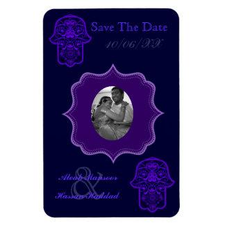 Hamsa floral (púrpura) (ahorre la fecha) iman flexible
