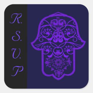 Hamsa floral (púrpura) (boda) pegatina cuadrada