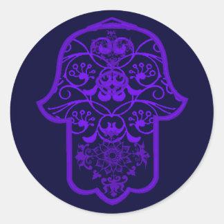 Hamsa floral (púrpura) pegatina redonda