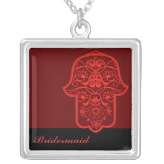 Hamsa floral (rojo) (boda) collar