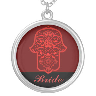 Hamsa floral (rojo) (boda) collares