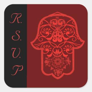 Hamsa floral (rojo) (boda) pegatina cuadrada