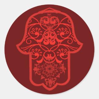 Hamsa floral (rojo) etiqueta redonda