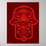 Hamsa floral (rojo) póster