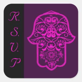 Hamsa floral (rosa) (boda) pegatina cuadrada
