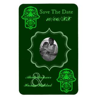 Hamsa floral (verde) (ahorre la fecha) imanes de vinilo
