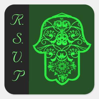 Hamsa floral (verde) (boda) colcomanias cuadradas personalizadas