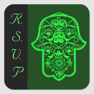 Hamsa floral (verde) (boda) pegatina cuadrada