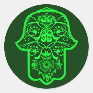 Hamsa floral (verde) etiqueta redonda