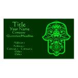 Hamsa floral (verde) tarjetas de visita