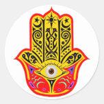 Hamsa - Hamsa mágico Etiquetas Redondas