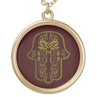 Hamsa Hand feat: Heart (Golden) Gold Plated Necklace