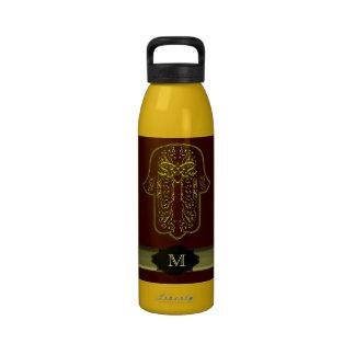 Hamsa Hand feat: Heart (Golden) (Monogram) Water Bottle