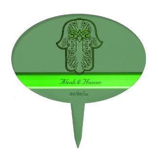 Hamsa Hand feat: Heart (Green) Cake Topper