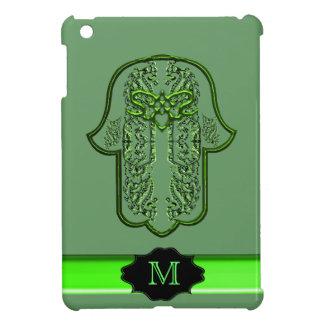 Hamsa Hand feat: Heart (Green) (Monogram) Cover For The iPad Mini