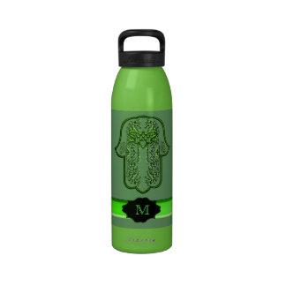 Hamsa Hand feat: Heart (Green) (Monogram) Water Bottles