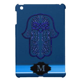 Hamsa Hand feat: Heart (Monogram) (Blue) iPad Mini Cases