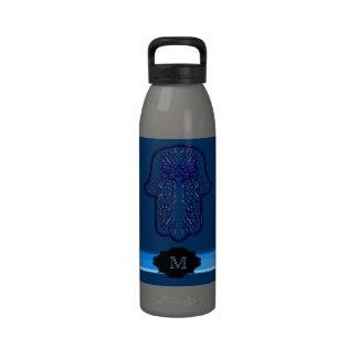 Hamsa Hand feat: Heart (Monogram) (Blue) Water Bottles