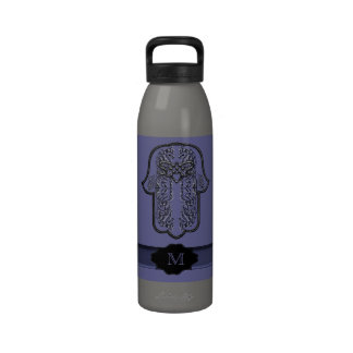 Hamsa Hand feat: Heart (Monogram) (Silver Effect) Reusable Water Bottles