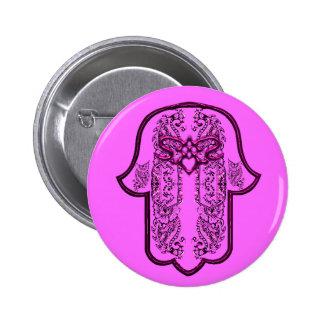Hamsa Hand feat: Heart (Pink) 2 Inch Round Button