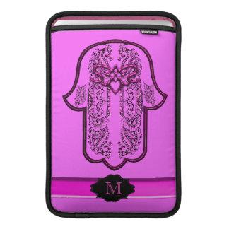 Hamsa Hand feat: Heart (Pink) (Monogram) MacBook Air Sleeve