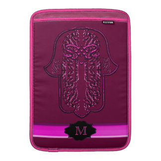 Hamsa Hand feat: Heart (Pink) (Monogram) MacBook Air Sleeves