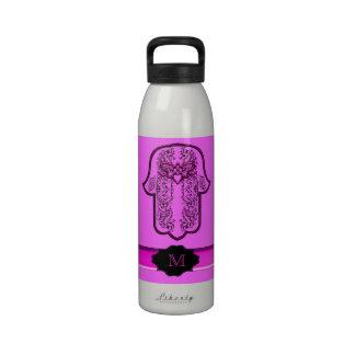 Hamsa Hand feat: Heart (Pink) (Monogram) Water Bottle