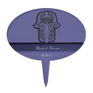 Hamsa Hand feat: Heart (Silver Effect) Cake Toppers