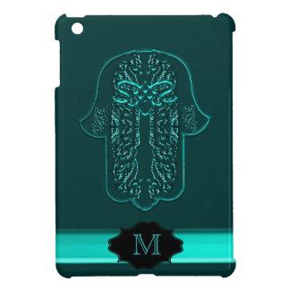 Hamsa Hand feat: Heart (Teal) (Monogram) iPad Mini Cases