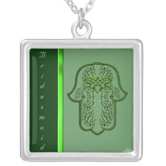 Hamsa Hand feat: Heart  (Wedding) (Green) Silver Plated Necklace
