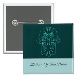 Hamsa Hand feat: Heart  (Wedding) (Teal) 2 Inch Square Button