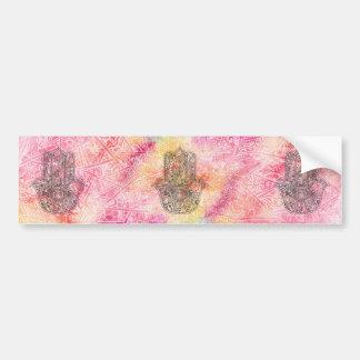 HAMSA Hand of Fatima symbol amulet Henna floral Bumper Sticker