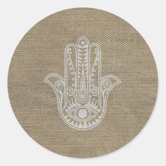 HAMSA Hand of Fatima symbol amulet Round Stickers
