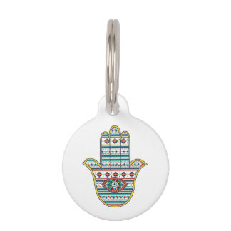 HAMSA Hand of Fatima symbol amulet tribal Aztec Pet ID Tag